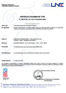 Certification LNE «humidimètre» n°37183 / analyseur CEREALYS 2